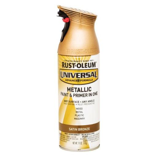 Rust-Oleum 1694363 11 oz Universal Satin Bronze Metallic Paint & Primer in One Spray Paint, Pack of 6