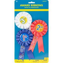 "Award Ribbons 6"" 3/Pkg 1st, 2nd & 3rd Place"