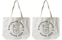 Every Bunny Needs A Best Bunny Matching BFF Tote Canvas Bag
