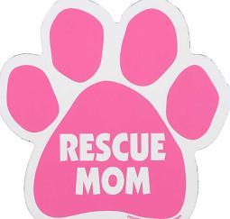 "Pink Rescue Mom Paw Magnet Dog 5.5"" x 5.5"" Shaped Puppy Kitten Love"