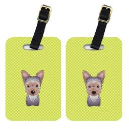 Carolines Treasures BB1293BT Pair Of Checkerboard Lime Green Weimaraner Luggage Tags