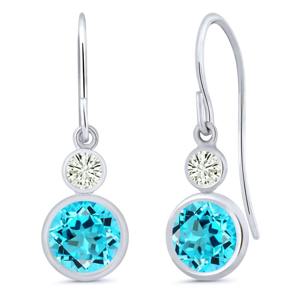 14K White Gold Dangle Earrings Round Swiss Blue Topaz and Forever Classic Created Moissanite 0.20ct (DEW) by Charles & Colvard