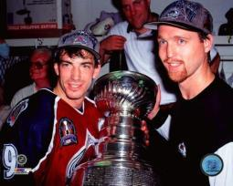 Joe Sakic & Patrick Roy with the Stanley Cup Championship Trophy Game 4 of the 1996 Stanley Cup Finals Photo Print PFSAATW14601