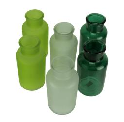 Green Blue and White Decorative Round Glass Bottles Set of 6