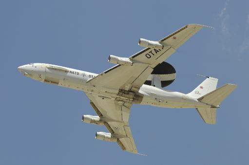 A Boeing E-3A AWACS of NATO taking off from Konya Air Base, Turkey, during Exercise Anatolian Eagle 2013 Poster Print
