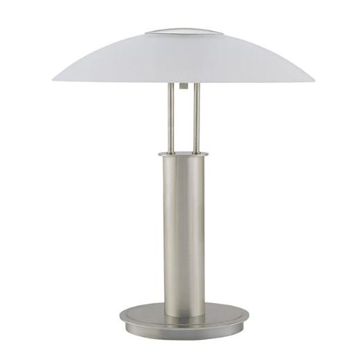 Q-Max 706276 18 in. Brushed Nickel Touch Table Lamp with Glass Mushroom Lamp Shade - Silver