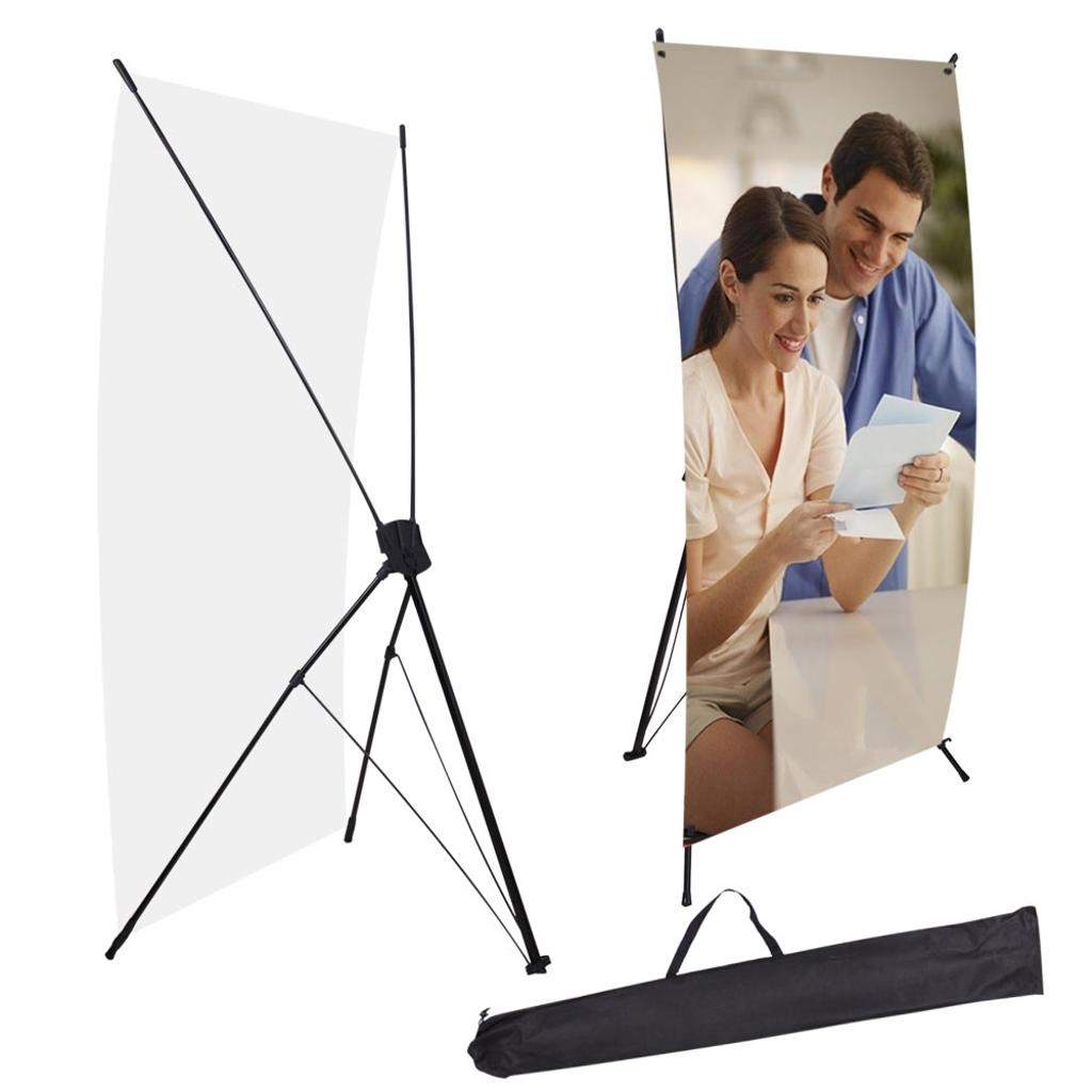 "2pcs 24""x63"" X Banner Stand w/ Bag Tripod Trade Show Sign Display Poster Holder"