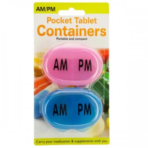 Bulk Buys KL20799 2.75 x 0.75 x 2 in. AM & PM Pocket Tablet Containers Set - Black, Blue & Pink IECPGKL7USURRDOL