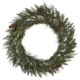 Vickerman A143140 42 in. Vallejo Mixed Green Wreath with Pine with Cones 230T Light