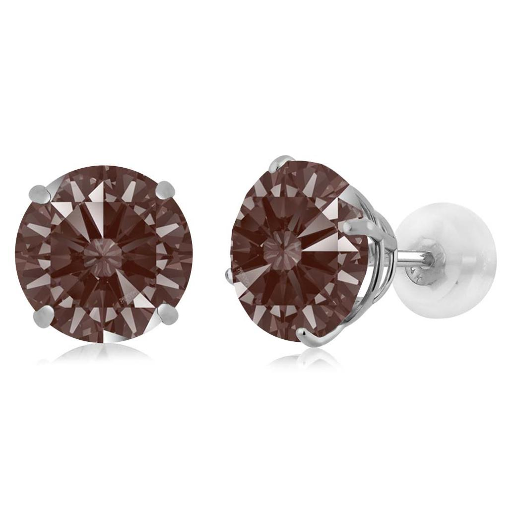14K White Gold  Earrings Set with Round Fancy Brown Zirconia from Swarovski