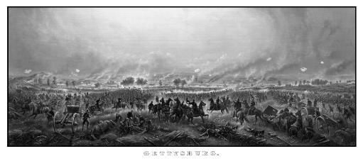 Digitally restored vintage Civil War print of the Battle of Gettysburg. The famous battle took place in early July 1863 and resulted in the.