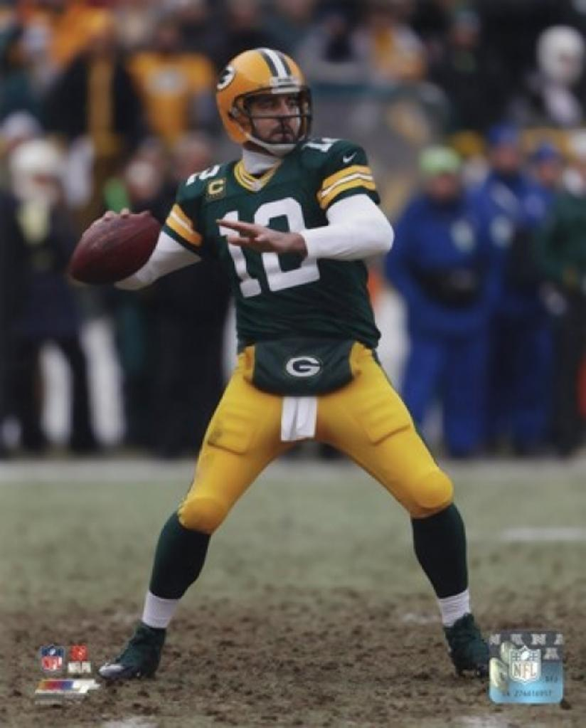 Aaron Rodgers 2014 Playoff Action Sports Photo