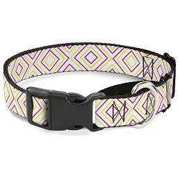 Buckle-Down MGC-W37104-L Square Lines White Fluorescent Orange Pink Yellow Martingale Dog Collar