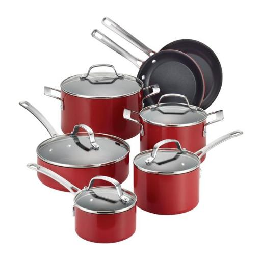 Circulon 14501 Genesis Aluminum 12-Piece Cookware Set, Red