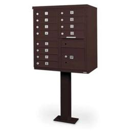 Postal Products N1031042 12 Door Cluster Mailbox Units with Pedestal, Bronze