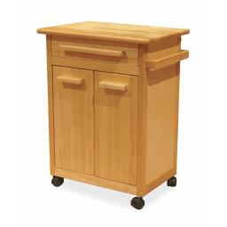 Winsome 82027 Beech Kitchen Cart One Drawer Cabinet for Storage with One Shelf