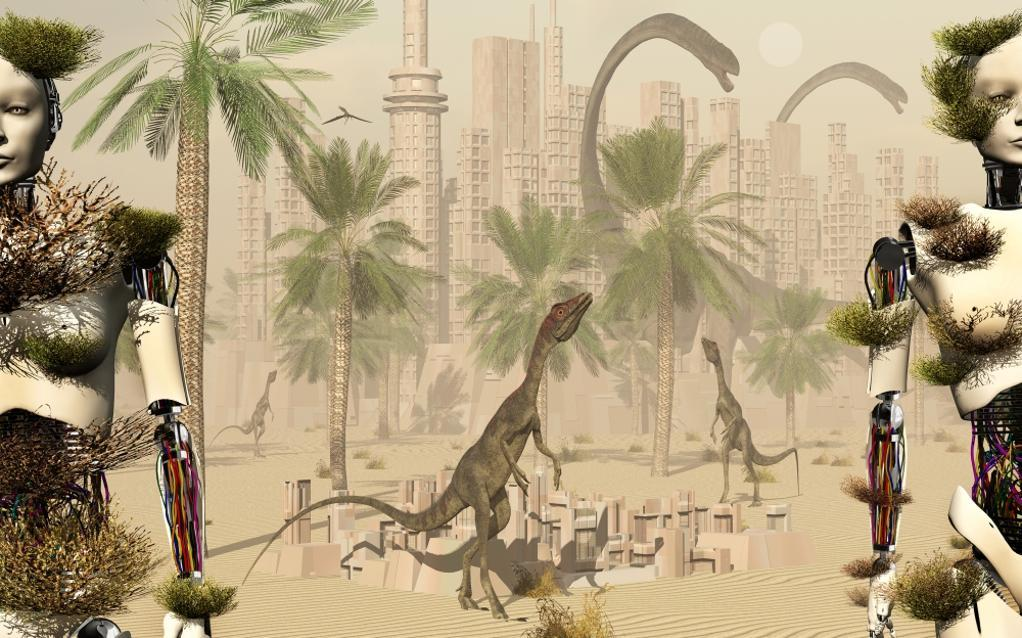 A prehistoric city now void of any life or activity except for curious dinosaurs, such as Compsognathus and Omeisaurus Poster Print