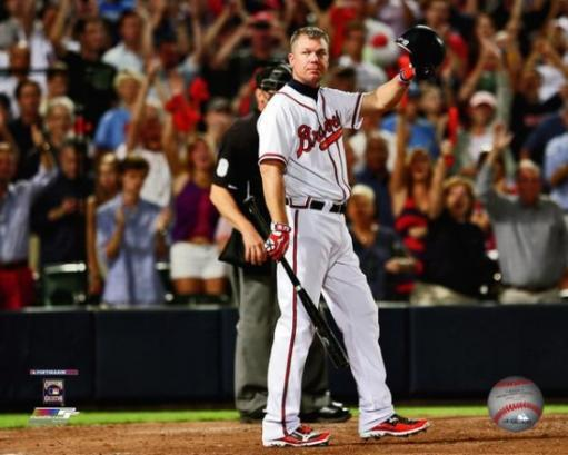 Chipper Jones waves to the crowd before his last at-bat during the 2012 National League Wild Card Game Photo Print