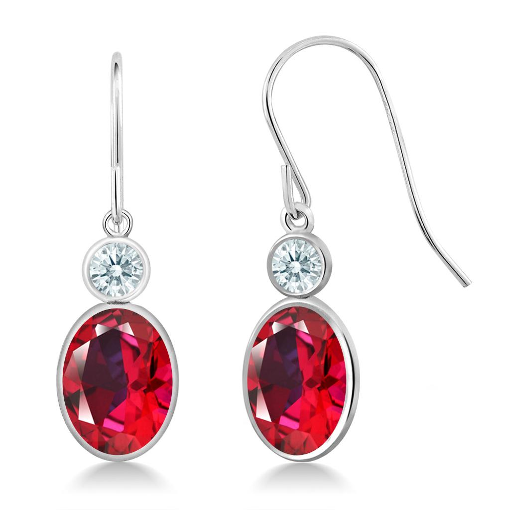 14K White Gold Earrings Set with Oval Blazing Red Topaz from Swarovski