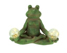 Green Meditating Frog LED Solar Light Garden Statue