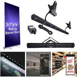 "Portable Aluminum 40x79"" Retractable Roll Up Banner Stand LED Light Kit with Bag Trade Show Signage Display Promotion"