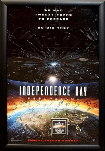 Independence Day - Signed Movie Poster in Wood Frame with COA