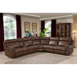 AC Pacific CLARK-6PC-SECTIONAL Clark 6 Piece Brown Reclining Living Room Sectional