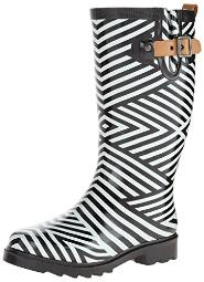 Chooka Women's Ziggy Stripe Rain Boot, Black, 7 M US