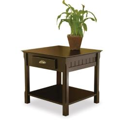 Winsome 20124 Black Beechwood END TABLE WITH ONE DRAWER ONE SHELF