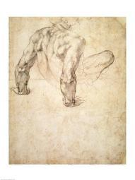 W.63r Study of a male nude, leaning back on his hands Poster Print by Michelangelo Buonarroti BALBAL68593LARGE