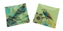 Set of 2 Nature's Poetry Square Glass Plates