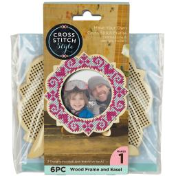 "Wood Frame W/Easel Punched For Cross Stitch 4.75"" Round"