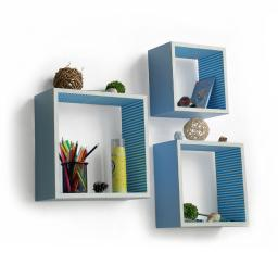 Powder Blue Square Leather Wall Shelf / Bookshelf / Floating Shelf (Set of 3)