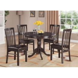 East West Furniture HART5-WAL-LC 5 -Piece Hartland Table 42 in. Round Table and 4 Faux Leather Upholstered seat Chairs - Black Cappuccino Finish
