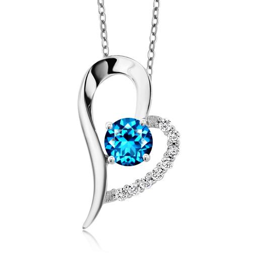 Heart Shape 0.50ct 18K Yellow Gold Plated Silver Pendant Forever Brilliant Created Moissanite by Charles /& Colvard and Created Sapphire GHI DEW