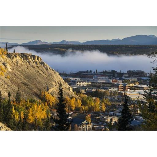 Posterazzi DPI12254800LARGE Fog Hangs Over The Yukon River at Whitehorse Yukon Territory Canada Poster Print - 38 x 24 in. - Large