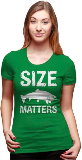 Women's Size Matters Fish T Shirt Funny Fishing Shirt Fish Tee for Women
