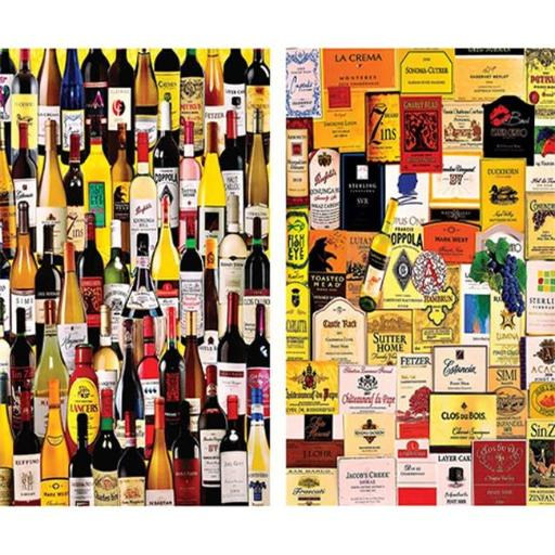 White Mountain Puzzles WHITE1165 For the Love of Wine 2 in 1 Puzzle - 1000 Pieces 449CCC6465FC4D2E