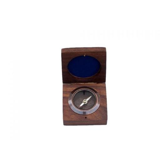 3 in. Desk Compass with Rosewood Box - Antique Copper