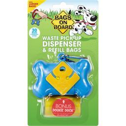 Bags On Board 3203910401 Blue Bags On Board Waste Pick-Up Dispenser And Refill Bags With Dookie Dock 30 Bags Blue