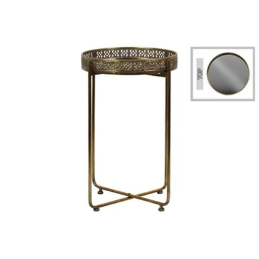 Urban Trends Collection 94232 19.5 x 32.25 x 19.5 in. Metal Tall Round Accent Table with Mirror Top with Pierced Metal Sides & 4 Straight Legs on Pede