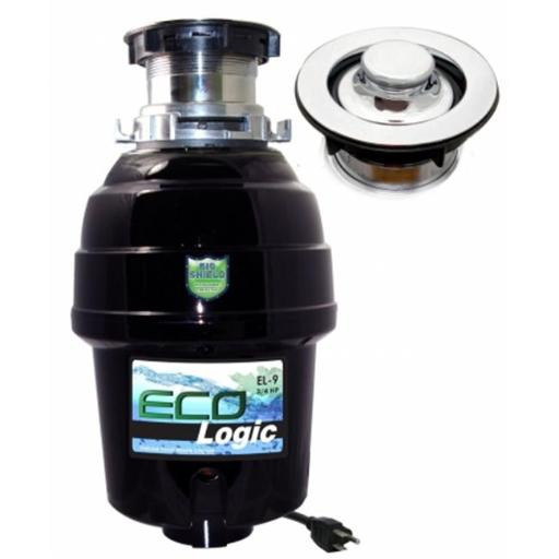 Eco Logic EL-9-DS-BN 9 Deluxe 0.75 HP Designer Series Food Waste Disposer with Brushed Nickel Sink Flange, Stainless Steel