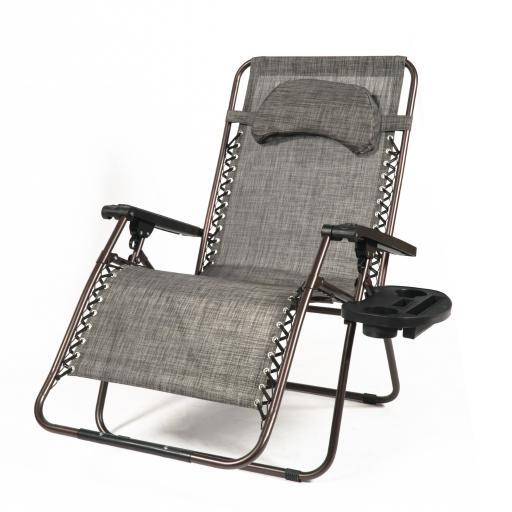 Belleze X-Large Oversized Zero Gravity Chair Recliner Adjustable Headrest Padded Headrest w/ Pillow Cup Tray, Gray