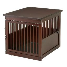 Richell 94916 dark brown richell wooden end table dog crate medium dark brown 31.1 x 25 x 24