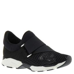All Black Womens Buckle Wrap Mesh Low Top Pull On Fashion Sneakers