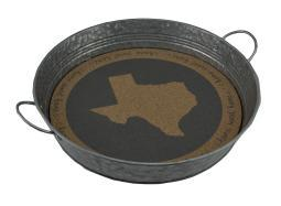 Home Sweet Home Rustic Galvanized Round Metal Tray w/Cork Insert