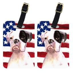 Carolines Treasures RDR3001BT Pair Of USA American Flag With Boxer Luggage Tags