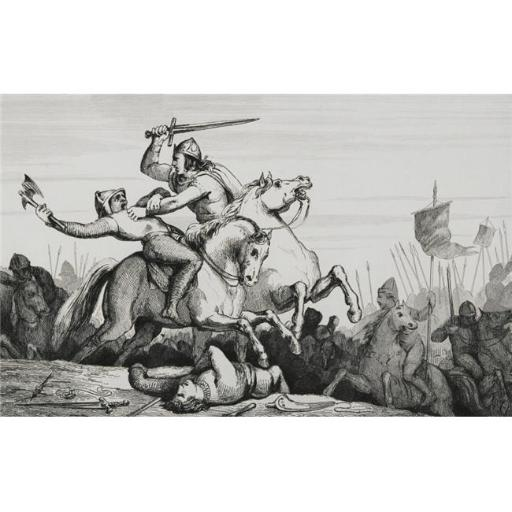 Eudes 860 to 898 King of the Franks In Battle Against the Normans From Histoire De France by Colart Published Circa 1840 Poster Print, 18 x 11