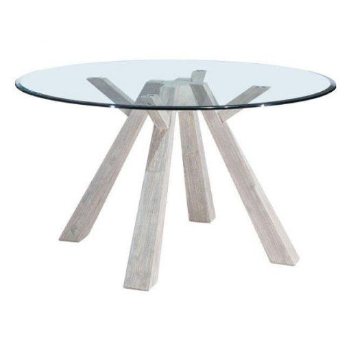 Beaumont Glass Round Dining Table, Sun Drenched Acacia