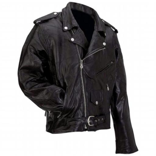Diamond Plate Rock Design Genuine Buffalo Leather Motorcycle Jacket- 7x 2D5893598632618E